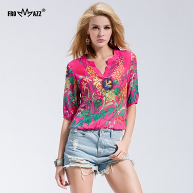 FROMMAZZ 2016 Women Lady 2016 Summer New Fashion Causal Round Neck Half Sleeve Printed Floral Top Tee T Shirts M-WQ16386(China (Mainland))