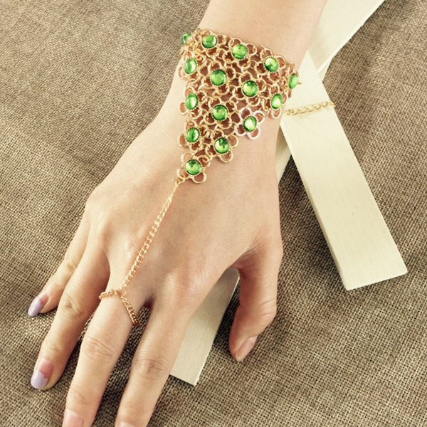 Fashion High Quality Jewelry Round Green Resin Bracelet Alloy Gold Plated Geometric Anklets & Bracelets Trendy For Women CS16(China (Mainland))