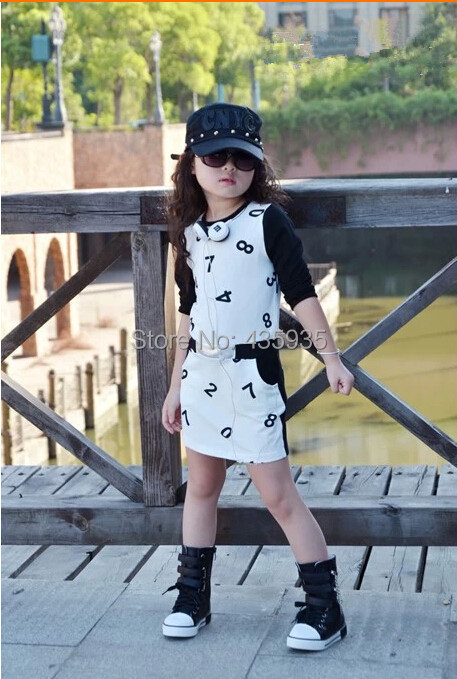 Wholesale 2014 new arrival spring autumn girl dress fashion number cute personality Collect waist dress children clothing C489SY(China (Mainland))