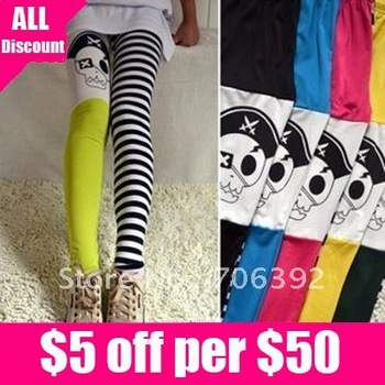 Free Shipping Hot Sale Fashion Women's Head Skull Striped Leggings 1pcs/lot