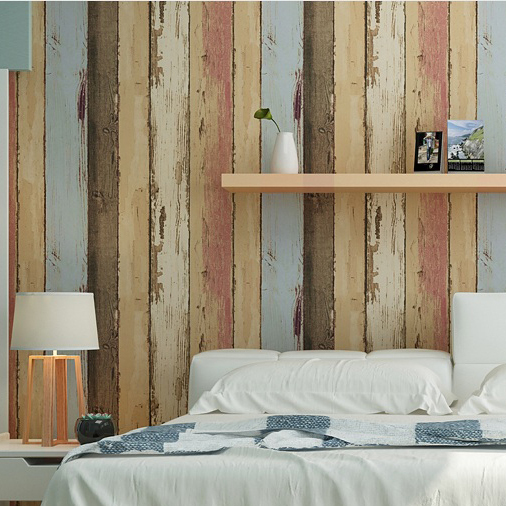 Haok Home PVC Vinyl Vintage Faux Woods Panel Tree 3D Wallpaper Living room Bedroom Home Wall Decoration,Tan/Blue/Brown Woods Art(China (Mainland))