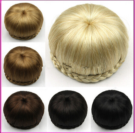Wholesale Free Shipping Peruca Styling Tools Sytnhetic Fake Hair Bun Wig Hair Chignons Roller Hepburn Hairpiece Clip Buns Toupee(China (Mainland))