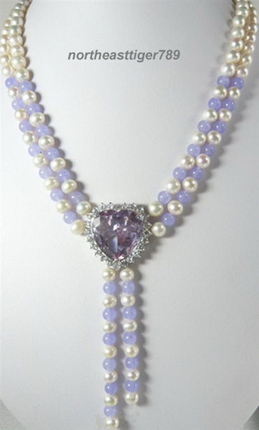Hot sale Free Shipping>>>>White Pearl Lavender Jade Amethyst Heart 18KWGP Crystal Pendant Necklace(China (Mainland))
