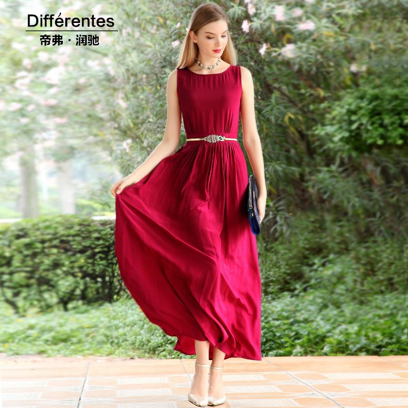Silk dress one-piece dress sleeveless spring 2016 summer Dress Women long dress Vestido elegant gentlewomen tank dress