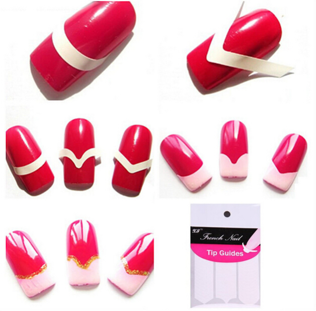 Nail Decoration Water Transfer Art Tips Sticker Form Fringe Guides DIY French Manicure - Guangzhou Alison International Trade Co.,Ltd. store