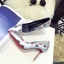 Lady Pleather Point Toe Lipstick  Print Sexy Red Bottom High Heels Pumps Shoes for Woman, Wedding&party&evening