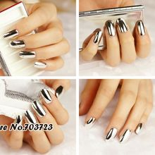 Metal Plating False French Acrylic Nail Tips With Nail Glue Beauty Nail For Fashion Lady White N06
