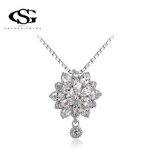 ROXI Christmas Gift Classic Genuine Austrian Crystals Fashion Stones Chain Necklace Snow Pendant Big OFF For Party