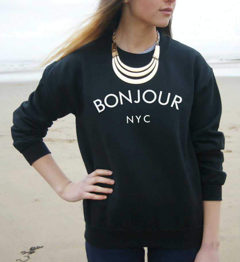 BONJOUR NYC Letters Print Women Sweatshirt Jumper Cotton Casual Hoody For Lady Hipster Whtie Black BZ203-15(China (Mainland))