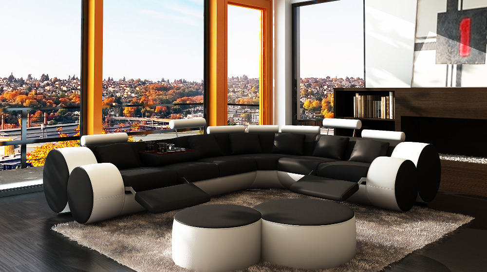 Modern Recliner sectional sofa sectional sofa with coffe tables # 3087(China (Mainland))