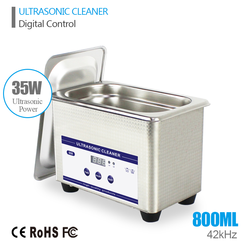 Digital Ultrasonic Cleaning Transducer Baskets Jewelry Watches Dental CD 0.8L 35W 42kHz Ultrasound Cleaner Mini Ultrasonic Bath(China (Mainland))
