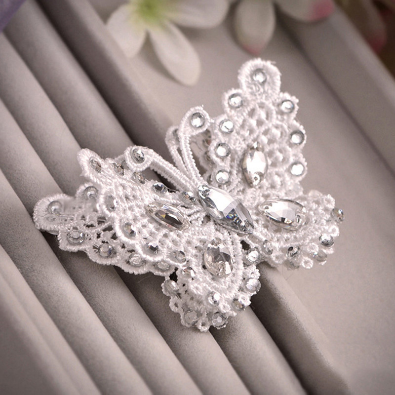 Romantic Women Girls Lace Butterfly Hairgrips Bow Hair Pins Weddding Bride Rhinestone Crystal Butterfly Hair Clips Jewelry SG048(China (Mainland))
