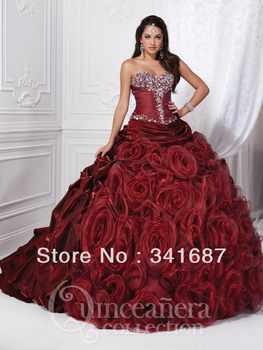 Sweetheart strapless dress beading rushed overlay bodice crystal Full Girls Quinceanera dresses