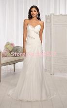 Vestido novia 2016 nuovo stock us size 2-22 bianco/avorio piega bordare di cristallo chiffon beach una linea da sposa abito da sposa abiti(China (Mainland))