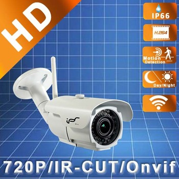 IPS New 1.0Megapixel 2.8-12mm Onvif Waterproof 720P Wi-fi IP Bullet  Megapixel Security Cam With Free Software (IPS-EO1312VW)