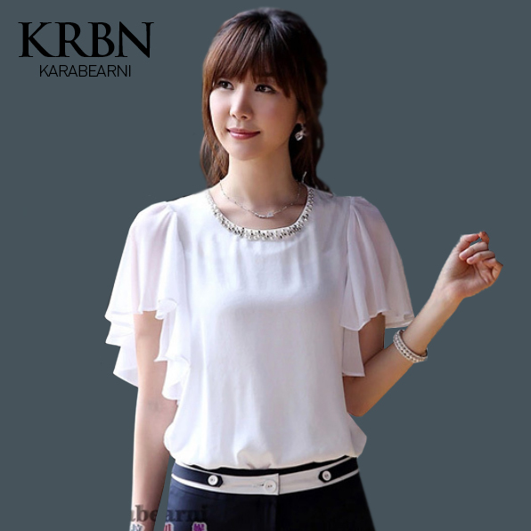 women tops Chiffon blouse summer women clothes 2015 women blouses Casual short sleeve plus size white women shirts K8258(China (Mainland))