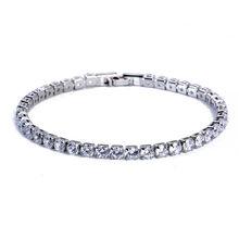 יוקרה 4mm מעוקב Zirconia טניס צמידי אייס מתוך שרשרת קריסטל כלה צמיד לנשים גברים זהב כסף צמיד תכשיטים(China)
