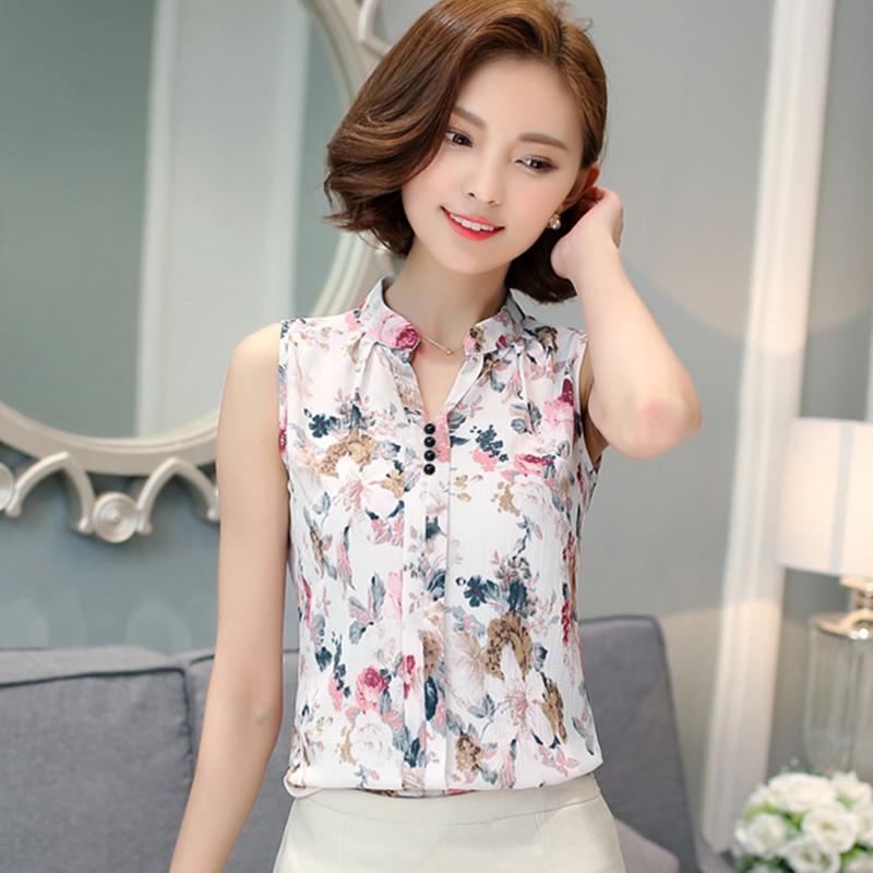 Blusas Femininas 2016 New Fashion Summer Chiffon Blouse Women Printed Sleeveless Blouse Floral Print Blouses Shirts Office Shirt(China (Mainland))
