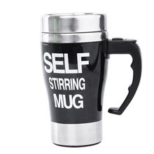 Stainless Steel Automatic Mixing Cup Self Stirring Milk Tea Coffee Mug Electric Stir Drinkware Plastic Heat-resistant Glass(China (Mainland))