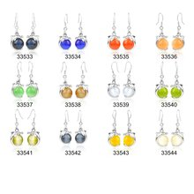 Free shipping 12 mixed colors fashion silver jewelry 925 sterling silver jewelry dangler plated platinum jewelry 925 earrings(China (Mainland))