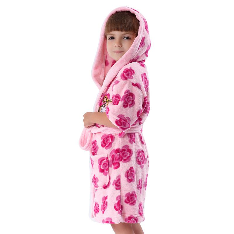 Girls Robe Hood Coral Fleece Printed Floral Albornoz Infantil Kids Pajamas Dressing Gown Children - Juice Mate Official Store store