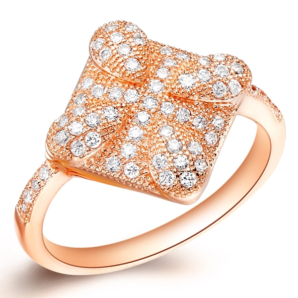 2015 New Rose Gold Plated square Engagement Rings For Women 2015 Korean Style