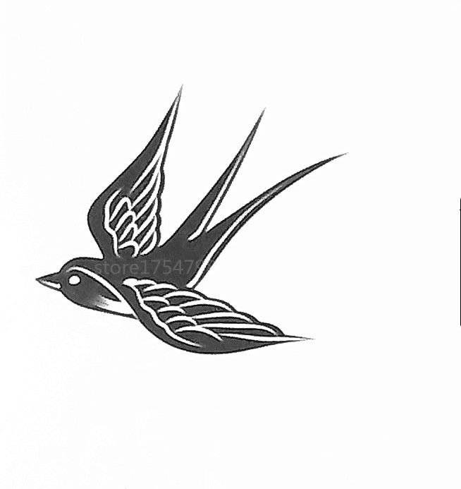 fashion waterproof temporary tattoo sticker flying swallow tattoo nontoxic paste men women for. Black Bedroom Furniture Sets. Home Design Ideas