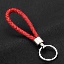 Moda Artesanal Corda De Couro Tecido Chaveiro de Metal chave anéis Chaveiro Homens ou Mulheres Titular da Chave Chave de Cobertura Auto Chaveiro presentes(China)