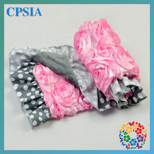 DHL Free Baby Pink 3D Rose Fluffy Blankets Gray White Polka Dots Trim Handmade Baby Blankets for sale-5pcs/lot(China (Mainland))