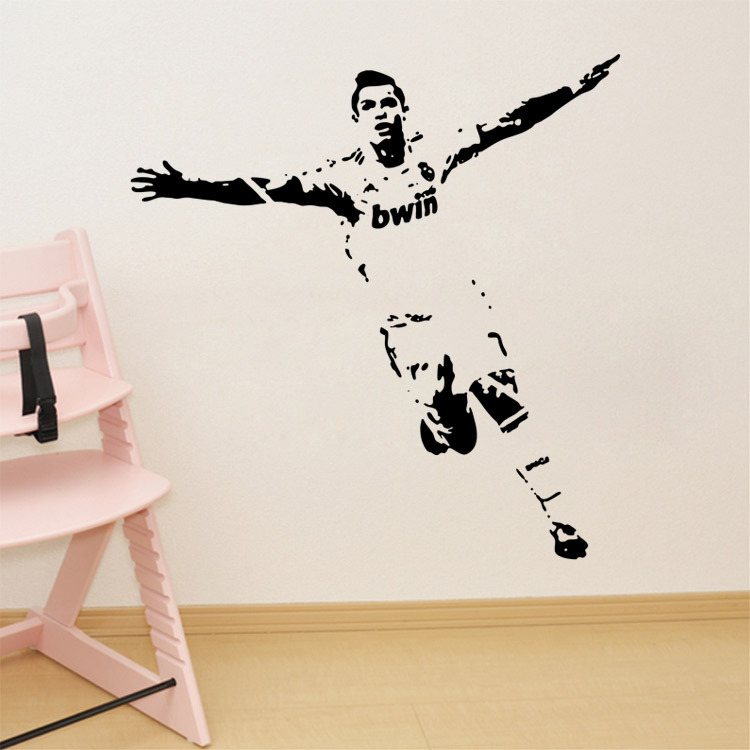 Soccer Wall Sticker Football Player Decal Sports Decoration Mural for Boys Kids Room Decor Free Shipping(China (Mainland))