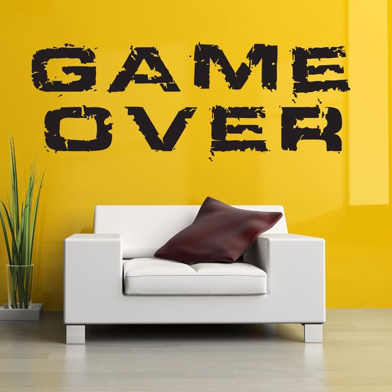 Video Game Sticker Play Decal Gaming Posters Gamer Vinyl Wall Decals Parede Decor Mural 19 Color Choose Video Game Sticker(China (Mainland))