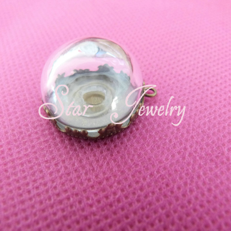 20pcs 20*12mm Classic glass dome vial with crown pendant cabochon setting tray/necklace accessories