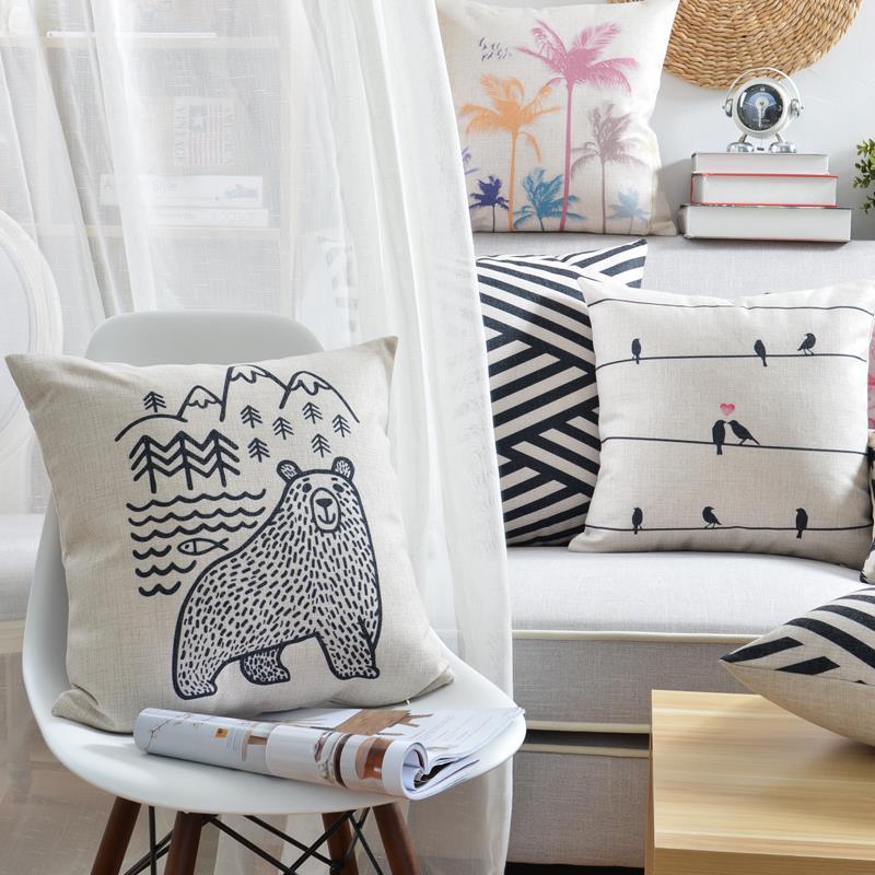 """18 """" praça geométrica criativo Cotton Linen capa de almofada Ikea sofá decorativa Throw Pillow início Car cadeira fronha almofadas"""