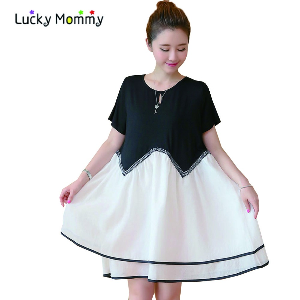 Summer White and Black Maternity Dresses for Pregnant Women Short-sleeved Casual Pregnant Dress Pregnancy Clothes Ropa Premama(China (Mainland))