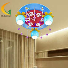 Child housing led ceiling light crystal cartoon clock child lighting lamps(China (Mainland))