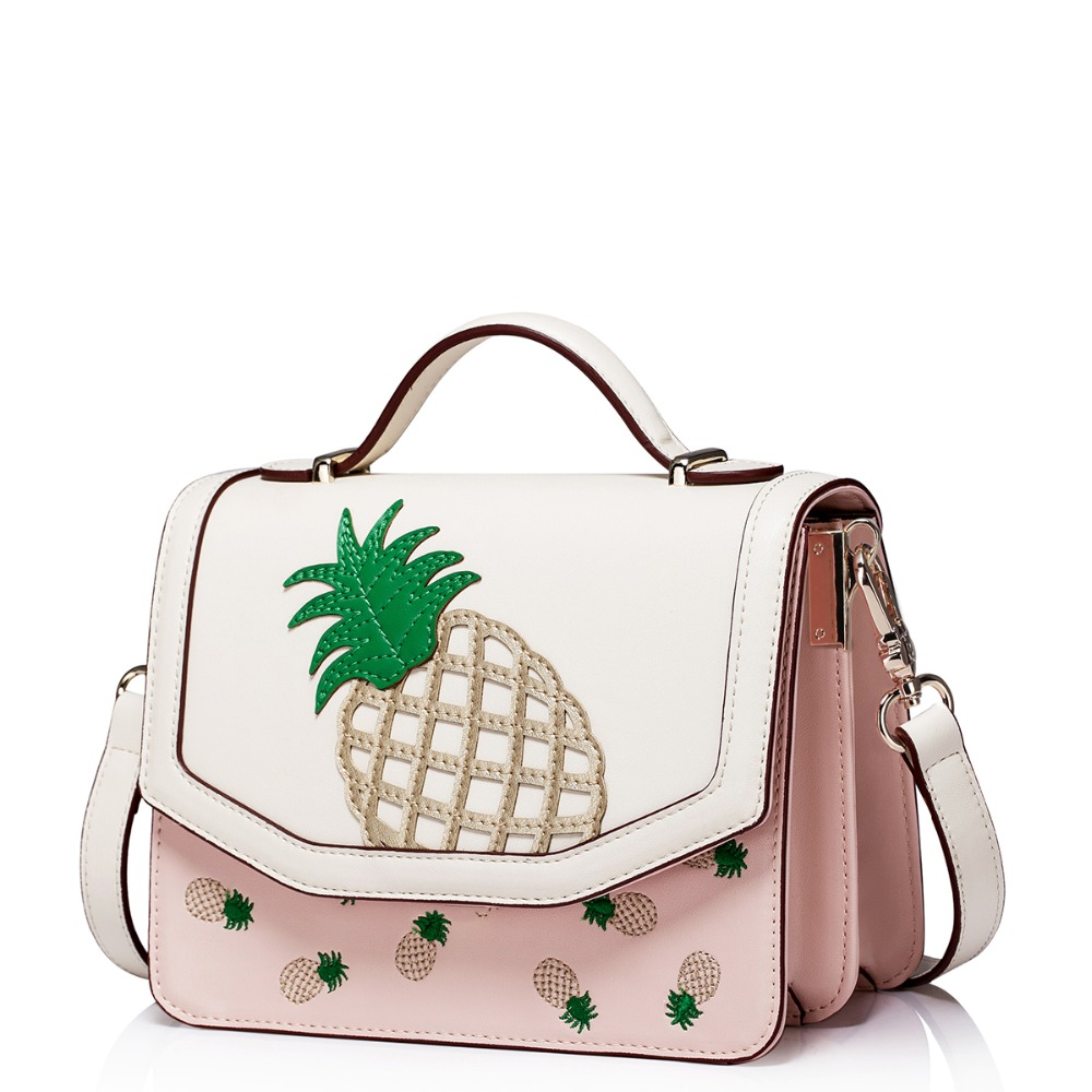 Womens Patchwork Embroidered Pineapple Pattern Leather Flap Convertible Small Crossbody Handbag Shoulder Purse Messenger Bag(China (Mainland))