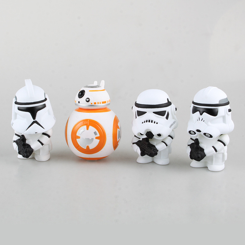 10cm Star Wars The Force Awakens Darth Vader White Soldier BB 8 Cartoon Action Figure PVC Model Toy Doll Gift Kids Decoration(China (Mainland))