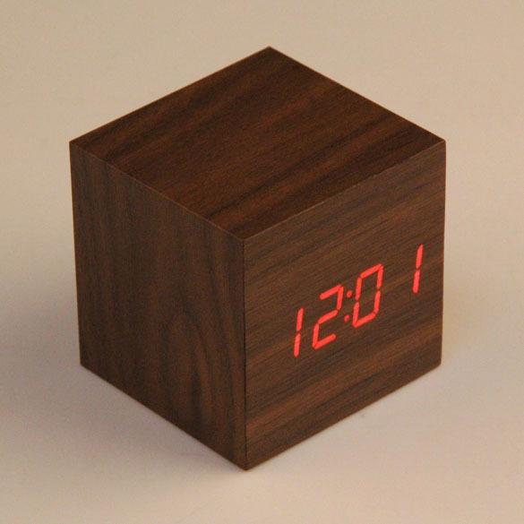 Cheap Cube LED Alarm Clock Temperature Sounds Control display electronic desktop Digital Wooden table clocks Free Shipping(China (Mainland))