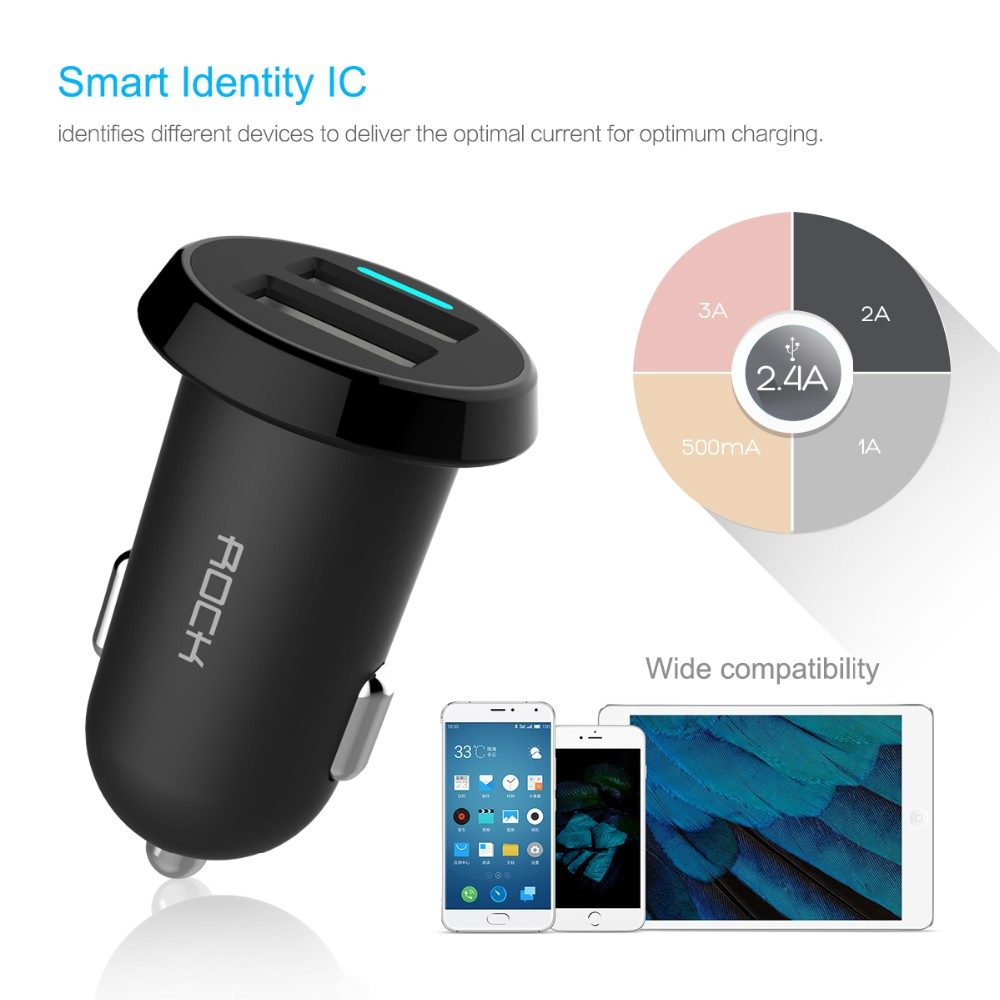 Phone Car-Charger ROCK Ditor Dual USB Output 2.4A Fast Charging Mobile Phone Travel Adapter Cigar Lighter DC 12-24V Car Chargers