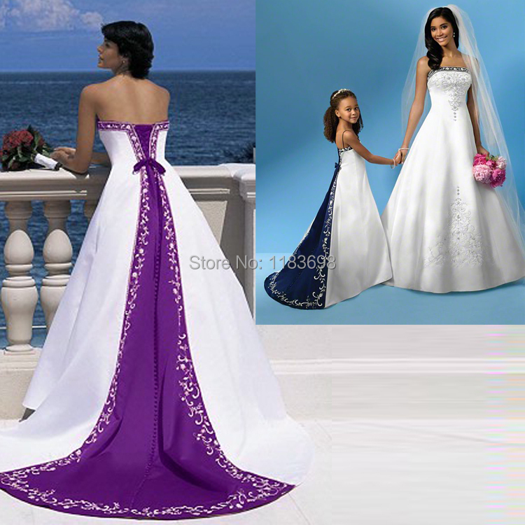 Best selling high quality a line strapless floor length for Wedding dress with purple embroidery