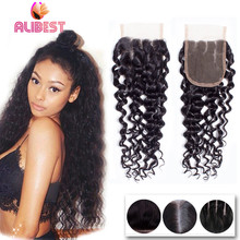 cheap indian deep wave closure 4*4 virgin human hair lace top closure natural black free middle 3 part closures with baby hair