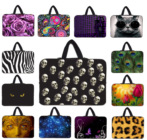Small Skull Laptop Bag For Men 12 Inch 12'' 12.1'' Notebook PC Anti-Dust Sleeve Cover + Hidden Handle Cool Boy Gift For New Year(China (Mainland))