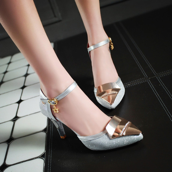 New fashion women summer sandals 2016 red bottom high heels ladies shoes pointed toe party sandals women pumps sexy stilettos(China (Mainland))