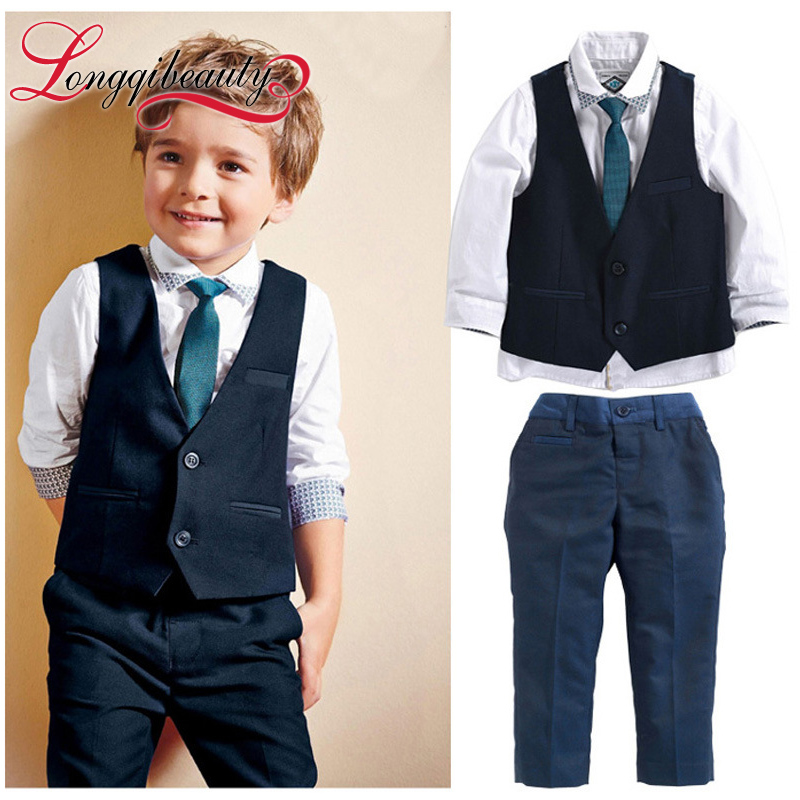 Little Gentleman Kids Boy Fashion Clothing Sets 3pcs Plaid Jacket+White Polo Shirt+Stripe Pants Children Formal Suits(China (Mainland))