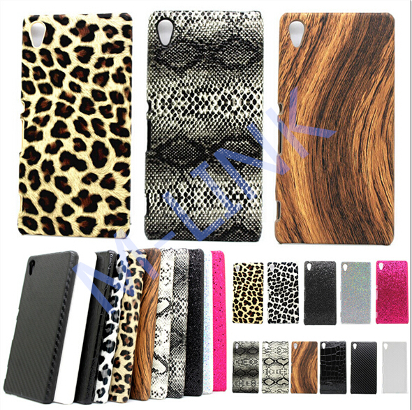 Luxury Leather Hard case Leopard Wood Swirl Snake Plastic Case Skin Back Cover for Sony Xperia Z3+ Z3 Plus E6553 E6533 Xperia Z4(China (Mainland))