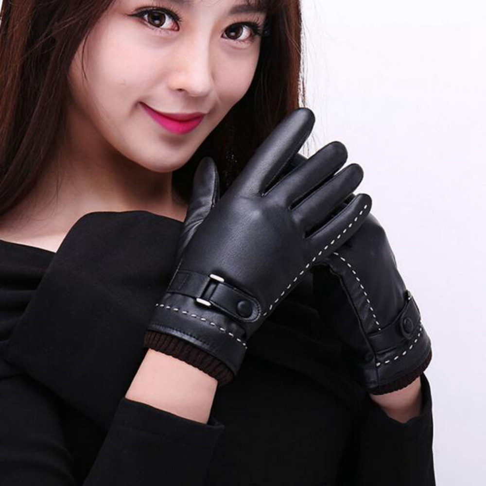 1Pair gloves women Screen Winter Warm long leather gloves cool women lady wear good quality guantes mujer luvas feminina#3(China (Mainland))