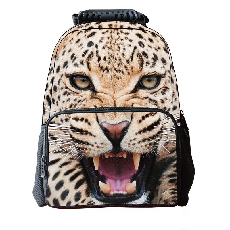 2015New polyester individuality leopard pattern childrens backpack multiple styles customizable.(China (Mainland))
