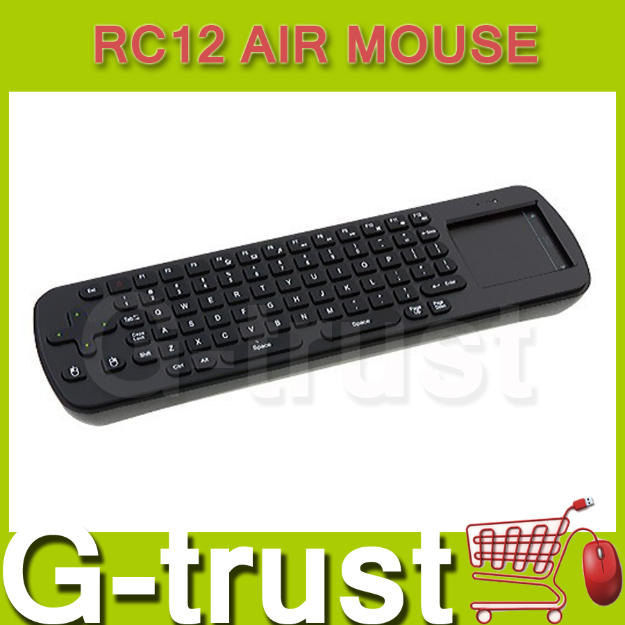 Free shipping Measy air mouse keyboard 2.4G wireless RC12 RC 12 Air mousefor PC ANDROID tv box smart tv note book 2pcs/lot(China (Mainland))