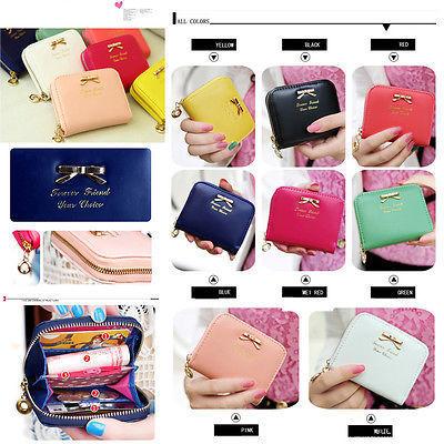 Women's Fashional Mini Faux Leather Purse Zip Around Wallet Card Holders Handbag(China (Mainland))