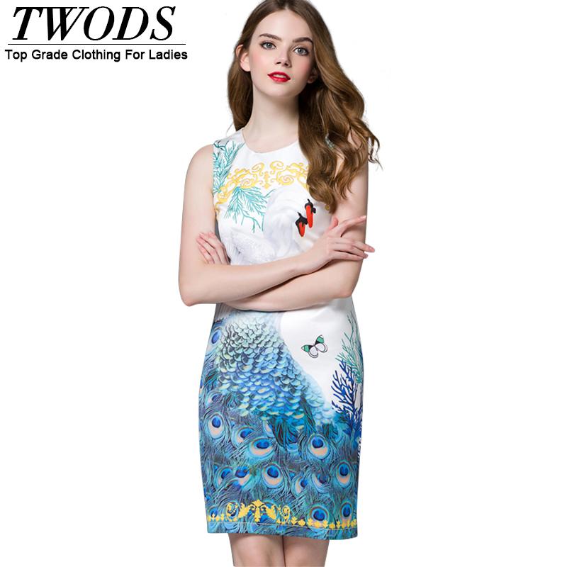 Twods Vintage Peacock Pattern Back Split Mini Pencil Dress Women O-neck Sleeveless Summer Dresses High Street Fashion Clothing